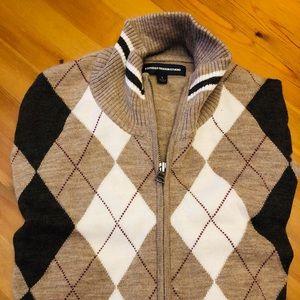 Express Men's full zip argyle lightweight sweater